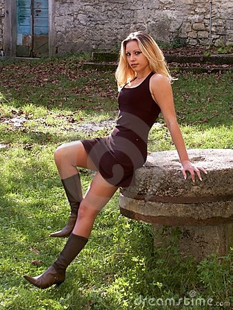 Blonde girl in miniskirt