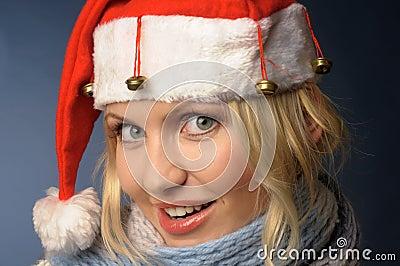 Blonde girl in and santa hat