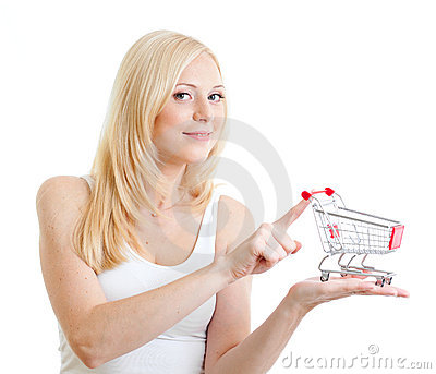 Blonde girl with small shopping cart