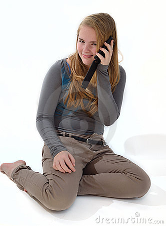 Blonde girl  a smartphone