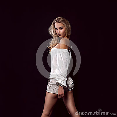 Blonde girl in studio