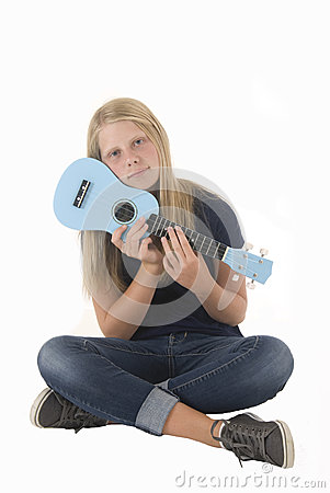 Blonde girl with ukulele
