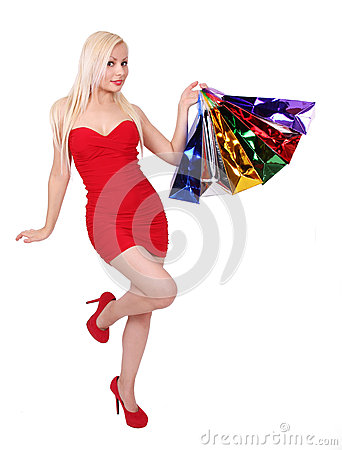 Free Blonde Girl With Shopping Bags Stock Images - 27782824