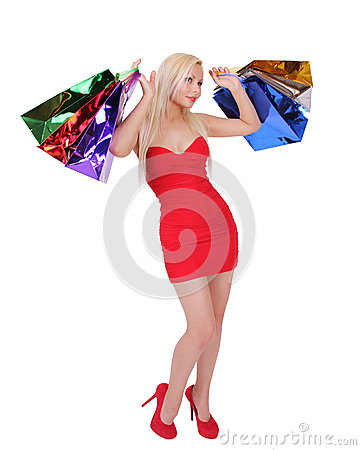 Free Blonde Girl With Shopping Bags Stock Photo - 27793990
