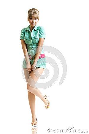 Blonde in green dress