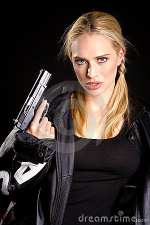 Blonde with a gun