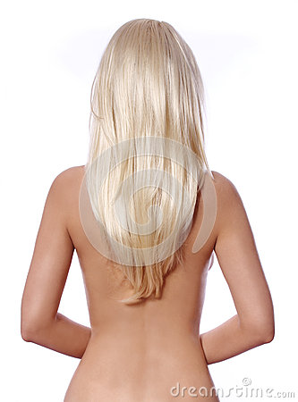Blonde hair, back side of young woman with straight blonde hair isolated
