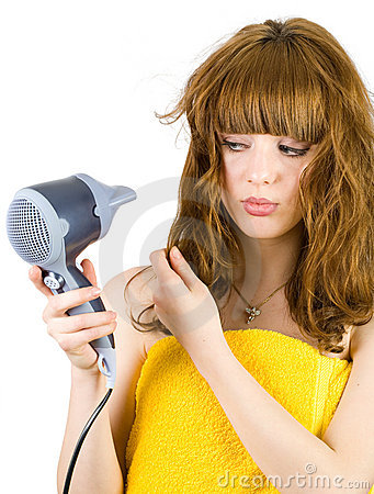 Blonde with hair drier