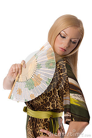Blonde with a hand fan