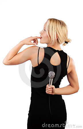 Blonde hiding microphone