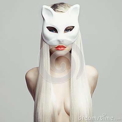Free Blonde In Cat Mask Stock Photography - 45951182