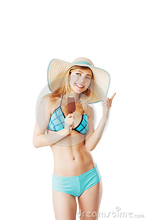 Blonde lady in bikini having an ice