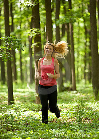 Blonde lady running