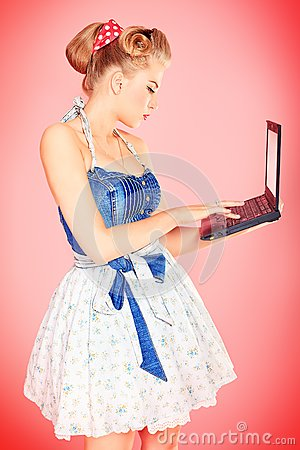 Blonde with laptop
