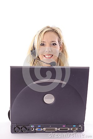 Blonde on laptop vertical