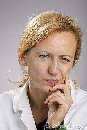 Blonde mature woman thinking