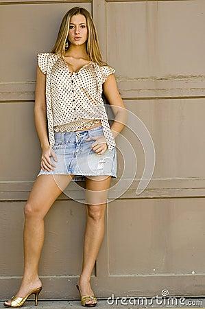 Blonde in mini skirt