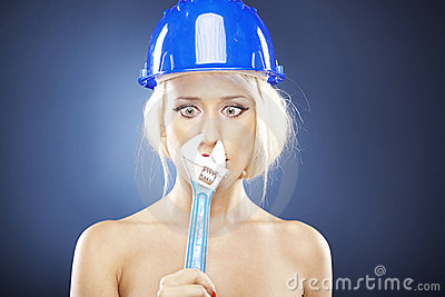 Blonde model with adjustable wrench.