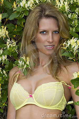 Blonde Model In Yellow Lingerie