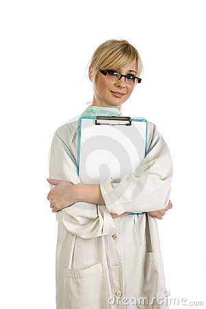 Blonde nurse with blue notepad