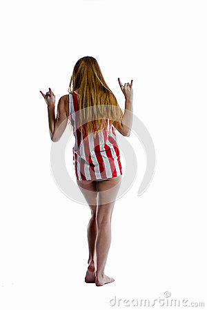 Blonde patriot hang loose as she walks away
