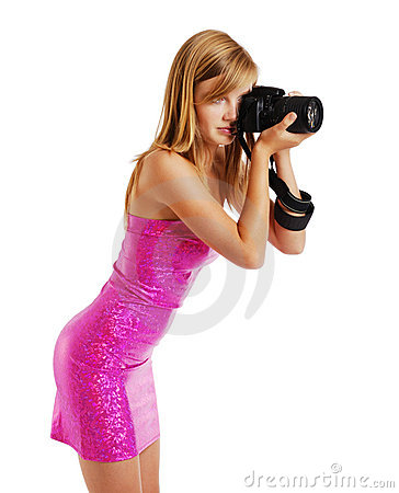 Blonde photographing