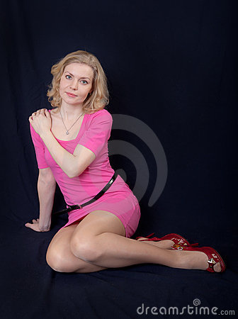 Blonde in a pink dress