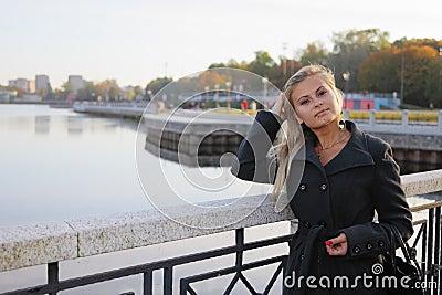 Blonde on quay