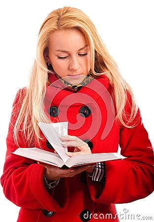 Blonde reads book