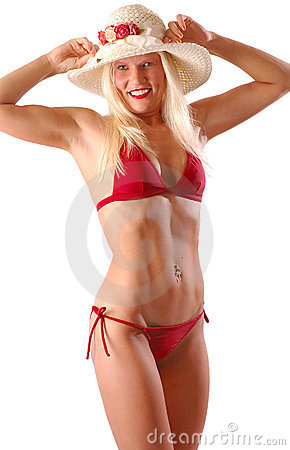 Blonde in red bikini