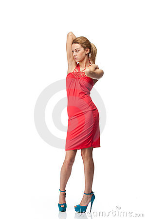 Blonde In Red Dress Royalty Free Stock Photography - Image: 23298787