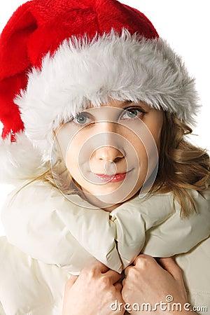 Blonde in Santa cap