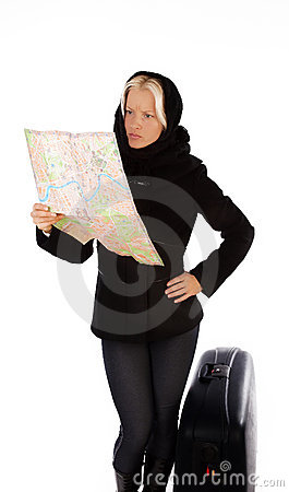 Blonde searching her hotel on map