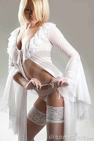 Blonde in sexy white lingerie