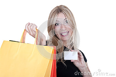 Blonde shopping with credit card