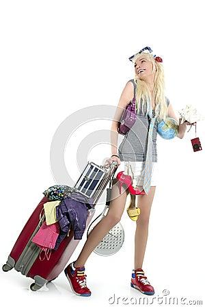Free Blonde Shopping Girl Vacation Metaphor Suitcase Royalty Free Stock Photos - 13593388