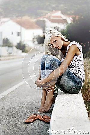 Blonde sitting