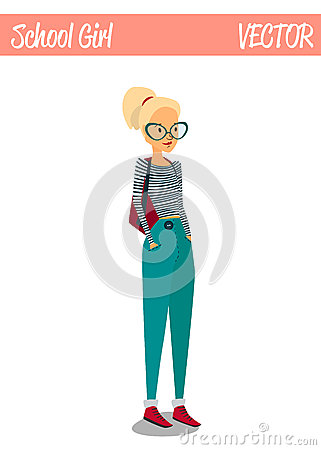 Blonde Student Girl Cartoon Character Illustration Smiling Vector Illustration