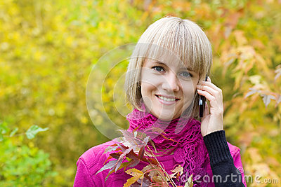 Blonde talking on a cell phone