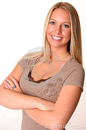 Blonde teen arms crossed