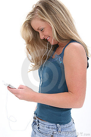 Blonde Teen Girl Listening To Music
