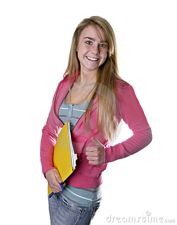Blonde teen girl student giving thumbs up