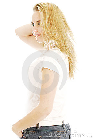 Blonde teen woman