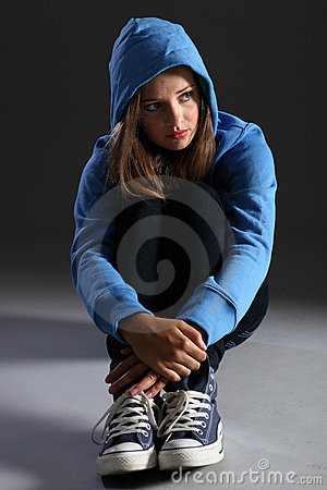 Free Blonde Teenager Girl Alone And Sad In Blue Hoodie Royalty Free Stock Photography - 21950357