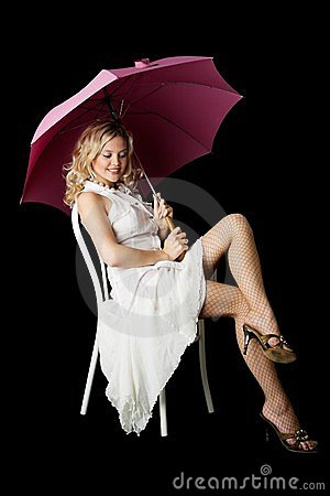 Blonde with an umbrella.