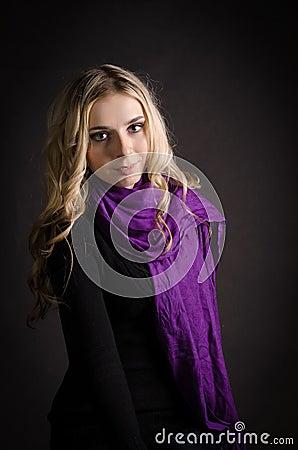 Blonde in a violet scarf