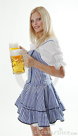 Blonde Waitress holding Oktoberfest Beer