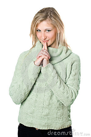Blonde in warm sweater