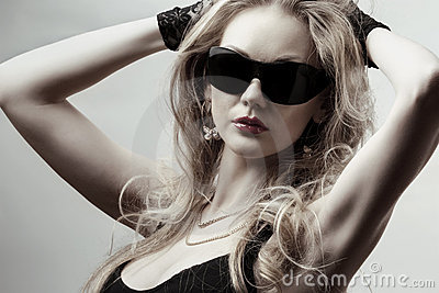 Blonde wearing sunglasses