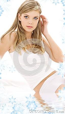 Blonde in white cotton underwear